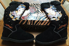 Ed Hardy Kiss of Death Women's Black Boots Sz. 8 in Box