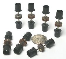 7pc 1991 TYCO TCR JAM HO Slot Car Chassis SPIRAL GEAR REAR END Deep Black Wheels