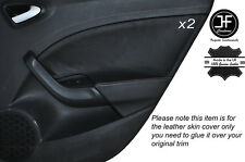 GREY STITCH 2X REAR DOOR CARD TRIM LEATHER COVER FITS SEAT IBIZA MK5 09-14 5DR