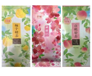 SET of 3 Pack Japanese TA-FU Green Tea Bags (Yuzu Citron, Sakura & White Peach)