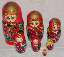 Original Matroschka Babuschka rotes Tuch 7 teilig 25 cm