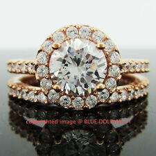 Real Genuine Solid 9K Rose Gold Engagement Wedding 2 Rings Set Simulated Diamond