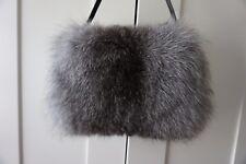 Genuine Silver Fox pelliccia MANICOTTO reale a mano più caldi Naturale Grigio HANDMUFF/Crossbody Bag