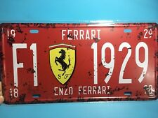 F1 1929 Vintage Metal Car Decorative License Plate United States Home Decor