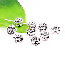30pcs Tibetan Silver Rose Shape Flower Loose Spacer Beads Jewelry Making 7mm