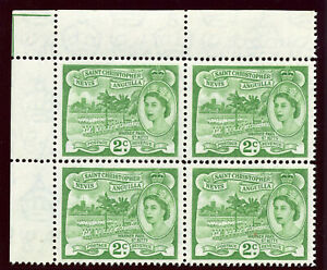 St Kitts-Nevis 1963 QEII 2c yellow-green block of four superb MNH. SG 108a.