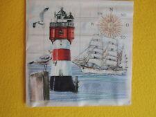 5 Servietten on the Beach Schild Holz Leuchtturm maritim Serviettentechnik 1//4