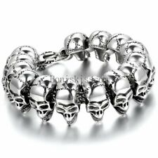 Fashion Gothic Skull Head Beads Link Biker Mens Stainless Steel Bracelet Bangle