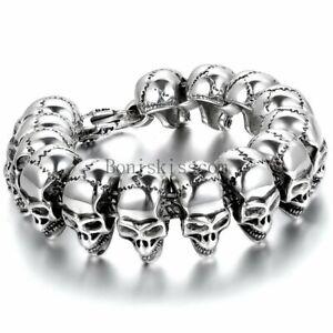 Fashion Gothic Skull Head Beads Link Biker Mens Stainless Steel Bracelet Bangle