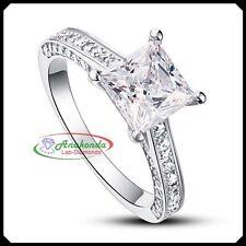FL Princess Cut Lab Diamond Silver 925 Solid White Gold Engagement Wedding Ring