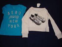 fa923db591ce0 Girls Aeropostale Lot Of 2 TS Long and Short Sleeve T-Shirts Size 5 NWT
