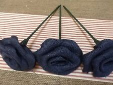 3 Burlap Flowers Stem Midnight Navy Blue Rustic Wedding Table Country Bouquet
