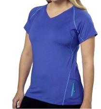 Kirkland Signature Ladies' Striped Active Gym / T-Shirt Top - Blue Size: Medium