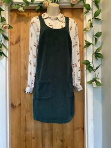 FAT FACE FOREST GREEN CORDUROY PINAFORE DRESS SIZE 10