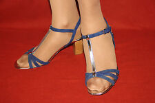GORGEOUS BODEN UK 8 EU 42 ALL LEATHER NAVY & SILVER MID HEEL T-BAR SANDALS