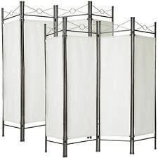 2x Biombos diseño 4panel tela divisor habitación separador separación blanco NUE