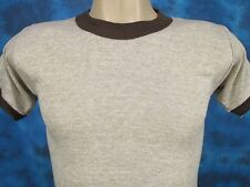 NOS vintage 80s RAYON TRI-BLEND BLANK BEIGE RINGER T-Shirt XXS surf beach thin