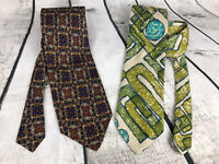 Vintage BagPiper Ties Set of 2- Green Linen And Blue White Mosiac New Back Stock