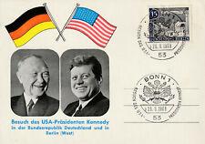 Sonder Postkarte 1963 Staatsbesuch Kennedy USA Kanzler Adenauer Sonderstempel ++