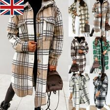 Women Check Fleece Casual Longline Jacket Shacket Top Shirt Coat Oversize Baggy