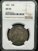 1831 Capped Bust Half Dollar NGC AU55 Natural Toning Silver PQ 50c Coin.