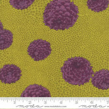 Mums: Chartreuse/Plum Asian Japanese Quilt Fabric - 1/2 Yd.