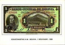 bolivia, Un 1 Boliviano 1928, BANKNOTES Modern Money Postcard