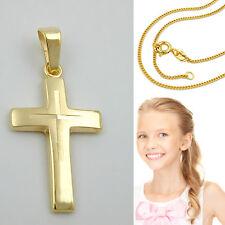 Damen Kinder Kreuz Anhänger Echt Gold 333 mit Silber verg. Vario Kette 42-40 cm