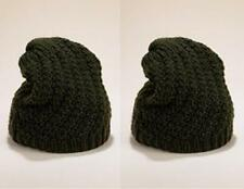 BOGOF EX M&S BLACK CHUNKY KNITTED CASUAL SLOUCH RIBBED TRIM BEANIE HATS RRP £25
