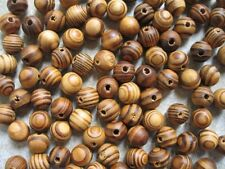 50 Wood Burly Natural Beads 11mm Brown Wooden Jewellery Making Crafts J14230V