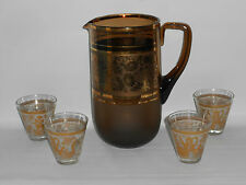 Brown Glass Pitcher Water Jug & 4 Glasses 5 pc Set Gold Accent