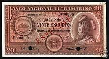 ST.THOMAS & PRINCE 20 ESCUDOS P36 1958 *Specimen* SHIP AUNC CURRENCY MONEY NOTE
