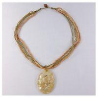 Halskette, Glas Holz, Anhänger Muschel Kette, Damenkette, Naturschmuck Folklore