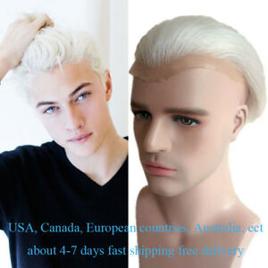 Mens White Hairpieces Toupee Hair system replacement piece Human Hair patch wig