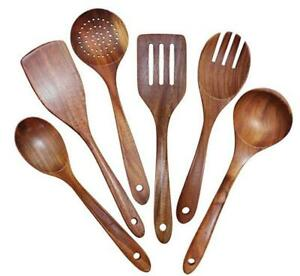 Wooden Utensils Set of 6, Large Kitchen Cooking Utensil for Non Stick Cookware