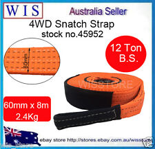 60mm x 8M,12T Snatch Straps Winch Extension 4WD Recovery Tow Strap Orange-45952