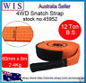 60mm x 8m 12T Snatch Strap Winch Extension 4WD Recovery Tow Strap,Orange-45952