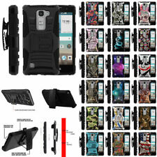 For LG Spirit 4G LTE C70 H440N Rugged Hybrid Dual Layer Kickstand Armor Case