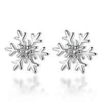 Snowflake Crystal Stud Earrings 925 Sterling Silver Womens Girls Xmas Jewellery