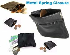 MENS LADIES BLACK REAL LEATHER KEY COIN POUCH WALLET ZIPPER KEYRING PURSE sprgCn