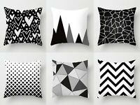 Black White Geometric Sofa Throw Cushion Pillow Case Home Decor 45x45cm 18 UK