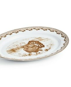 MARTHA STEWART Collection Harvest Oval Turkey Platter 100% Porcelain Sepia