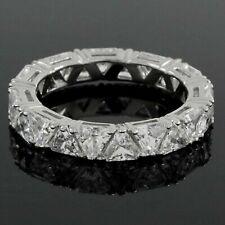 4.50 Ct Trillion Cut Created Diamond Sterling Silver Eternity Wedding Band Ring