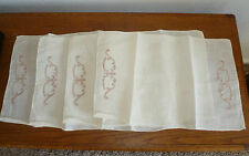 Vintage (4) Linen Cream Colored Embroidery Place mats 17 x 11 ½