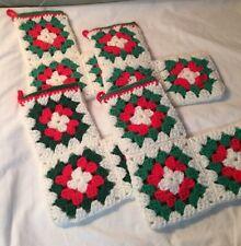 Set Of 4 Handmade CHRISTMAS CROTCHET STOCKINGS Red Green White