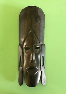 MASK Hand Carved Dark Wood Wall Hanging Decoration African style Ethnic Tribal