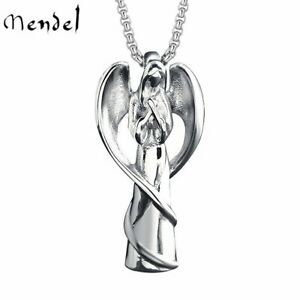MENDEL Womens Stainless Steel Praying Guardian Angel Wing Pendant Necklace Chain