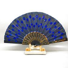 Ventaglio Nero Blu Paillette Ventaglio da Tasca Ventaglio Decorativo Wedler Mano