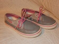 Crocs Women's Grey with Pink Lace-Up Hover Boat Shoe Size 5