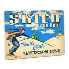 Skier On Duty Sign Male Skiing Resort Lodge Lift Skis Slalom Downhill Beginner